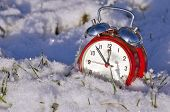 Постер, плакат: Vintage New Year Clock Alarm clock On Snow
