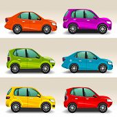 foto of car symbol  - Set of colorful cars racecar automobile vector - JPG