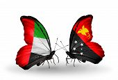 picture of papua new guinea  - Two butterflies with flags on wings as symbol of relations UAE and Papua New Guinea - JPG