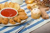 image of chicken wings  - Golden fried chicken wings with garlic crispy toast and hot chilli sauce dessert homemade bun - JPG
