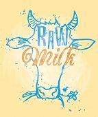 foto of cow head  - Raw Milk Signage in a Cow Head - JPG