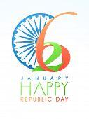 picture of ashoka  - Creative greeting card design with Ashoka Wheel for 26 January - JPG