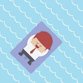 foto of floating  - Relaxed Businessman Floating on Pool Raft VECTOR EPS10 - JPG