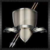 pic of spears  - Medieval silver shield with spears and silver ribbon on black background - JPG
