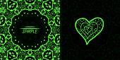 picture of ottoman  - Ornamental green vector square flyer card design - JPG