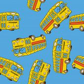 image of motor-bus  - school bus seamless pattern cartoon illustration - JPG