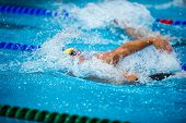 picture of swim meet  - backstroke swimmer during a race on swimming pool - JPG
