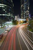 brisbane city traffic by night poster