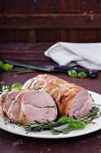 foto of roasted pork  - Roasted pork tenderloin with baked garlic - JPG
