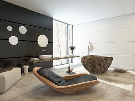 stock photo of ottoman  - 3D Rendering of Contemporary design in a luxury bathroom interior with a comfortable wooden recliner chair - JPG