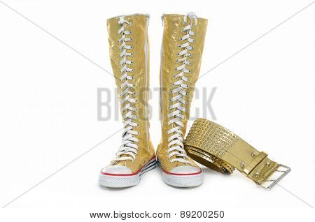female high boots with belt on white background