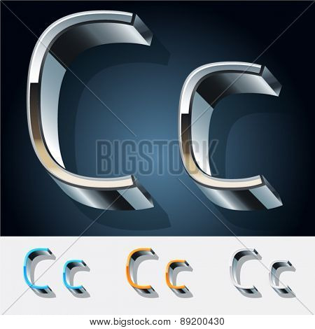 Vector set of futuristic metal silver alphabet. Letter C