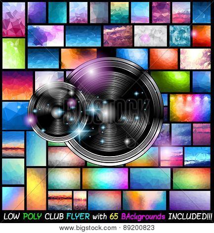 Modern Club Disco Flyer Art for Music Event backgrounds with 65 Low Poly Background included! Ideal for posters, brochure, backgrounds, pages, covers, and so on.