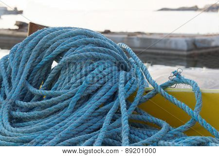 Blue Nylon Rope In The Harbor