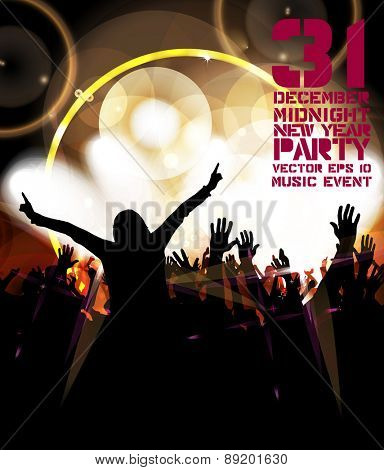 Dancing people. Music event poster. Vector