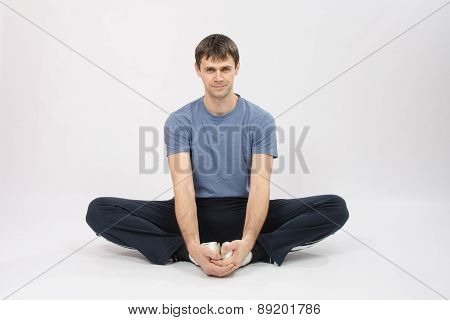 Athlete Sitting Holding Hands Your Feet