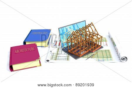 Laptop, Model Of The House And Books On Architecture And Construction.