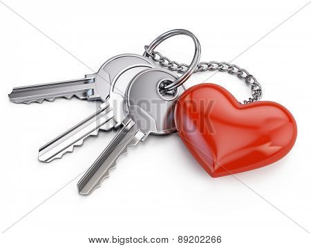 Keys with red heart isolated on white background