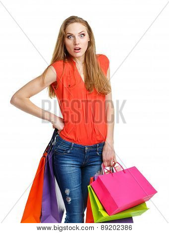 Happy Lovely Woman With Shopping Bags Over White