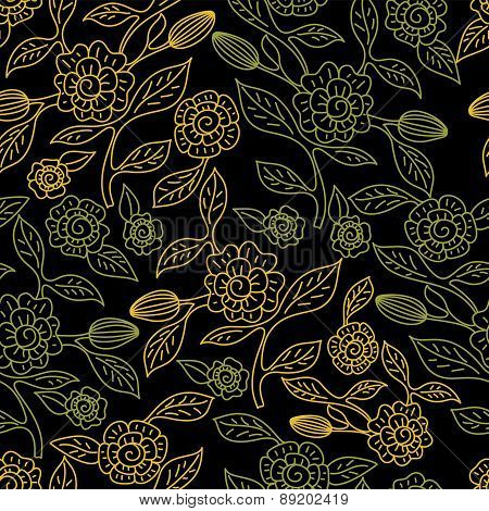 Vector Seamless Doodle Pattern With Decorative Flowers. Hand Drawn Nature Line Background. Black, Gr
