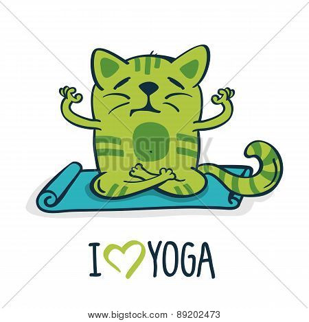 Green Cartoon Cat On Blue Mat In Yoga Position. Vector Illustration Isolated On White Background