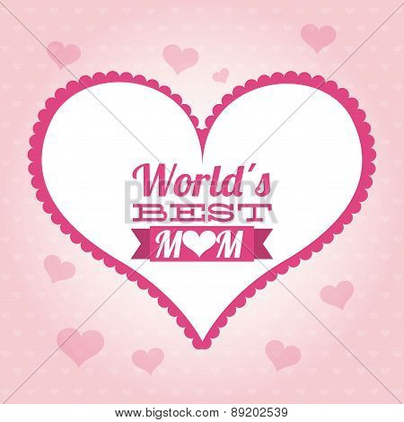 Happy mothers day card over pink background vector illustration