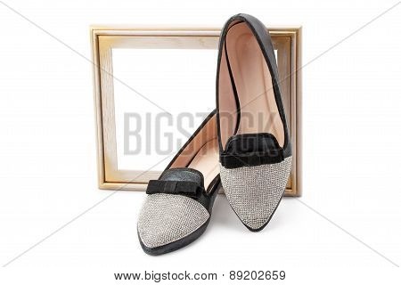 Women Shoes And Wooden Frame