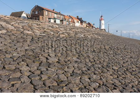 Breakwater Of Urk ,fishing Village In The Netherlands
