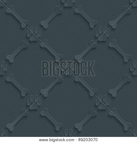 Dark perforated paper with cut out effect. Paws print and bones 3d seamless background. Vector EPS10.