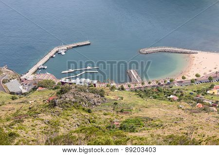 Aerial View Harbor Of Canical At Madeira Island