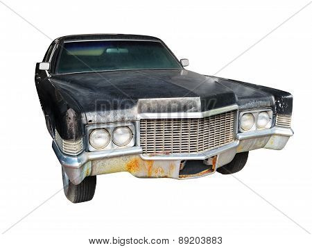 Old Black Car Isolated Against A White Background