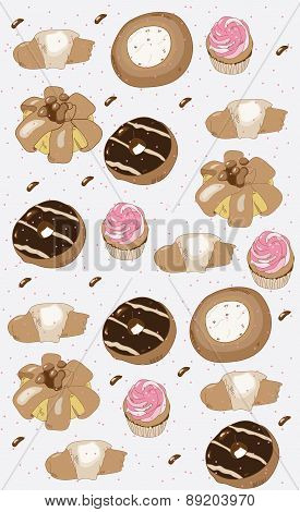 decorative background with cakes biscuits donuts muffins