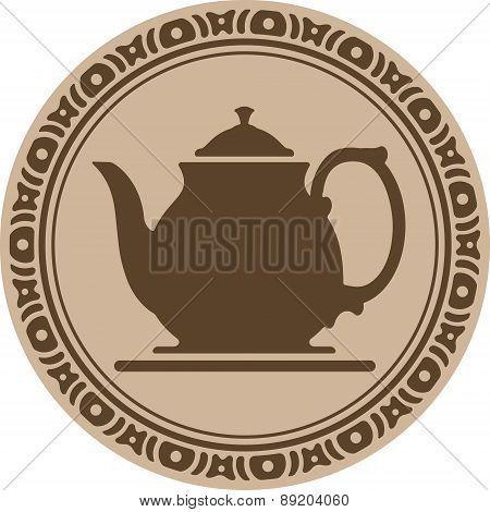 Teapot Inside A Decorative Round Frame