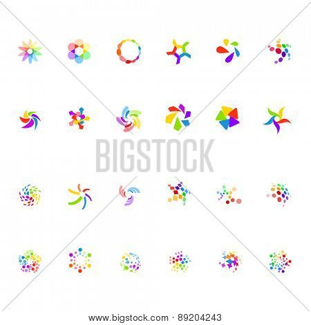 Different abstract trendy symbols on white