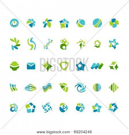 Blue-and-green different abstract trendy symbols on white