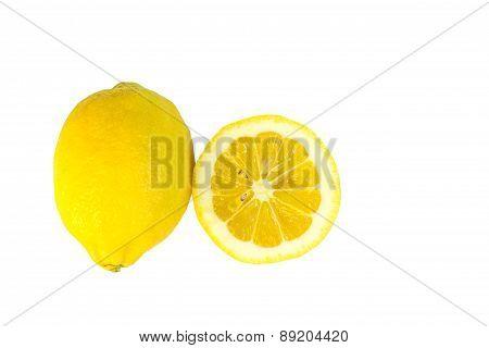 One and half lemon isolated on white background