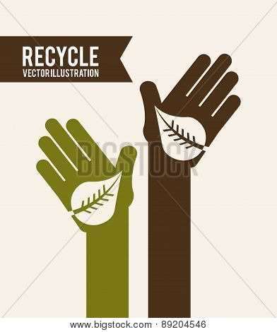 Recycle design over beige background vector illustration