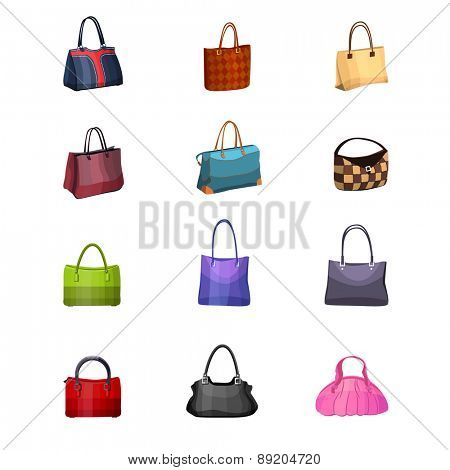 Women s fashion collection of bags. Set with different bags isolated on white.