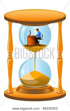 Office Worker Inside The Hourglass