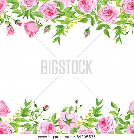 Delicate Pink Roses Floral Vector Background