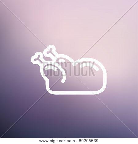 Raw chicken thin line icon