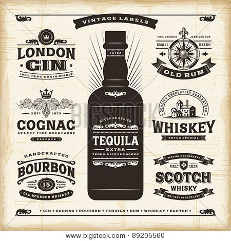 Vintage alcohol labels collection. Editable EPS10 vector illustration with transparency.