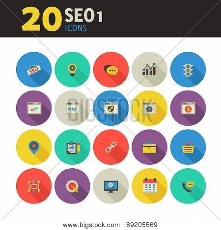 SEO 1 icons on colored round buttons