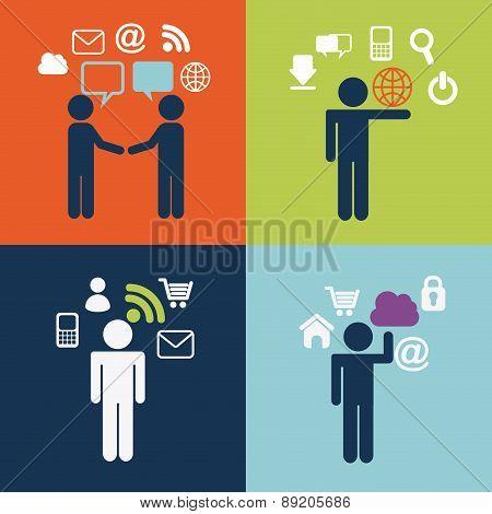 People design over colorful background vector illustration