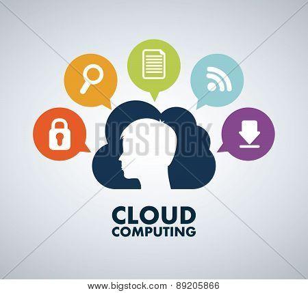 Cloud computing design over gray background vector illustration