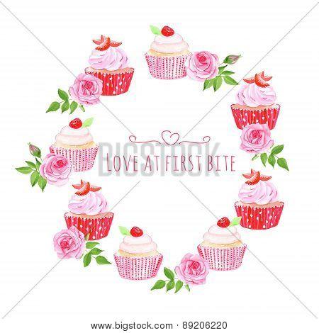 Cupcakes Table Vector Design Round Frame
