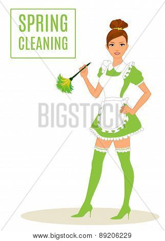 Sexy Maid Cleaning Lady Dusting