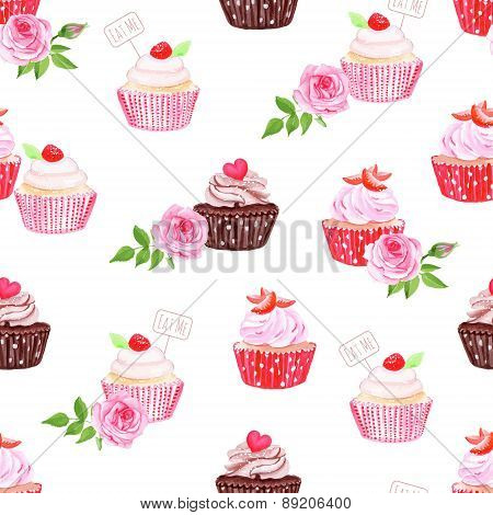 Chocolate And Strawberry Cupcakes Seamless Vector Pattern