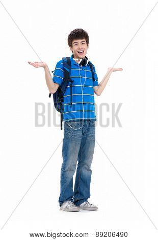 Full body casual young student with backpack on white background