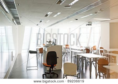 modern classroom interior and furniture